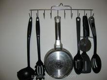Hanging 10 hook kitchen UTENSIL POT PAN organizer rack metal chrome
