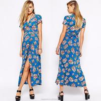 China supplier Wholesale women dresses stylish maxi dress V-neck blue cap sleeve floral print women long maxi dresses 2015