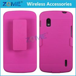 Pc +Tpu Line Matte Plastic Holster Combo Dual Layer Hybrid Cover Phone Case With Stand For Lg Nexus 4 E960