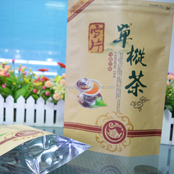 high quality printed good seal composite kraft paper and aluminum ziplock bag for tea
