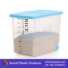Custom plastic food organizing box with wheel for rice, flour storage