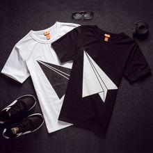 New summer trend chest shirt printing paper airplane body fashion wild men short-sleeved T-shirt Sale