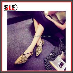 latest fashion 2016 summer leopard print pattern flat fashion footwear single shoes, sandals