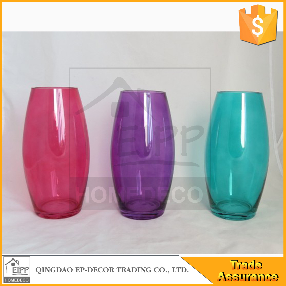 Wholesale Unique Gifts Oval Clear Vase Colored Small
