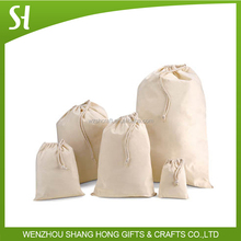 wholesale custom printed calico bag with drawstring