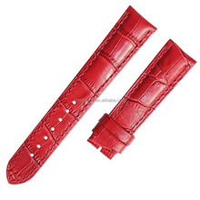 High-quality sharp red bamboo knot leather watch strap with liner