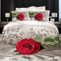 A big red rose on the water bed linen 3D
