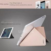 New Arrival Original ROCK VITA Series Flip Leather Case For iPad mini 4 Solid Fashion PU Flip Case