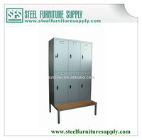 military steel locker with bench for changing room