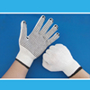 Bleached white polyester blended working gloves with PVC dots on palm