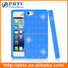 Set Screen Protector And Case For Iphone 5 , Blue Silicone Crystal Stone Mobile Cover