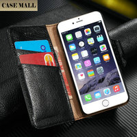 Casemall New Litchi Pattern First Layer genuine case for iphone 6 6s wallet flip cover card cases