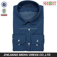 2015 high quality men blue denim shirt