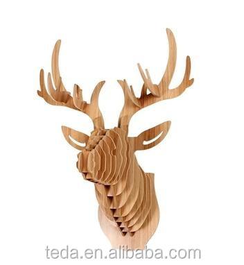 wholesale DIY wood carving craft decoration reindeer of Reindeer Head Home Decoration