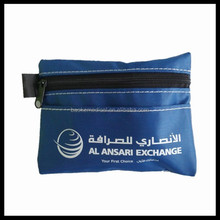 Mini blue first aid pouch with outside pockets and 1 color logo printing, customized for UAE client
