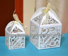custom size 2013 new product swirl pattern 5*5*8.5cm and 9*9*12.5cm laser cut wedding favor boxes from Mery Crafts