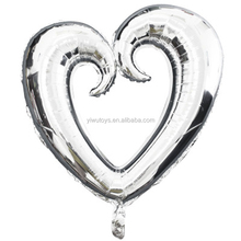 valentines outdoor decorations love foil mylar silver heart balloons