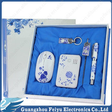 New blue and white porcelain power bank,chinese characteristic hand crank generator,unique gift manual generator