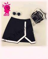 Korean Style Number new women fashion super black short Rayon bandage mini short skirt