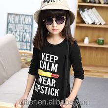 New 2015 Trend-setting Fashion Autumn Hot Sale 100% Cotton Lipstick Letter girl's t-shirt wholesale