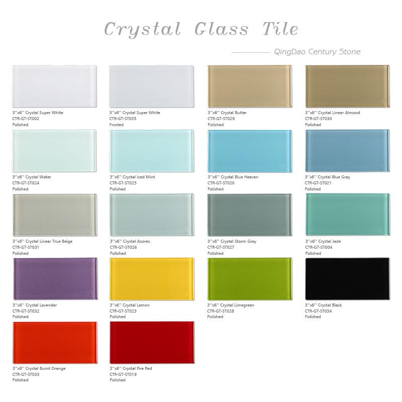 New Popular Color 3x6 Transparent Kitchen Backsplash Wall Glass Tile