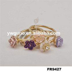 gold fashion resin flower ring fancy gold ring designs