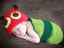 caterpillars Design Crochet Pattern Baby Beanie Hat with Cocoon Set Infant Newborn Photography Props Costume