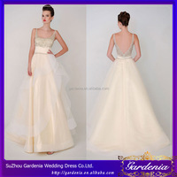 New Arrival Custom Made A-line Boat Neck Sexy Low Back Spaghetti Strap Beaded Organza Bridal Dress Buttons Down the Back(WD061)