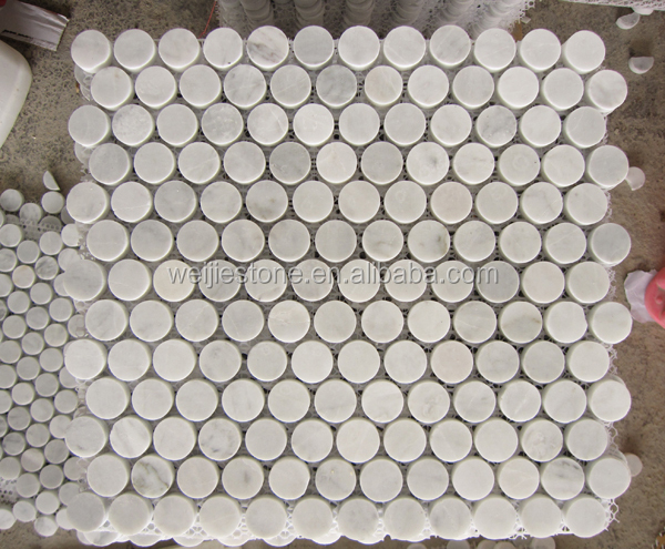 12x12 Bianco Carrara White Marble Mosaic Tile Backsplash Round