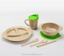 100% natural rice husk fiber 100% eco and biodegradable tableware for kids