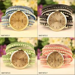 Current Wristwatch Leather Strap Crystal Quartz Bracelet Wrist Watch Price