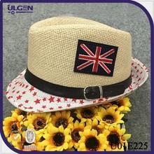 Fashion casual style kids top hat Boys girls paper straw hats Children little star Sun Fedoras Cap