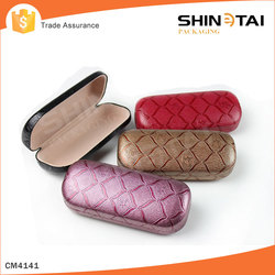 Cheap glasses case metallic pu leather travel bags