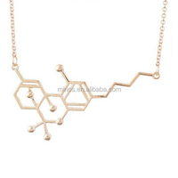 Gold Formular Pendant, Molecular Formula Pendant Science Chemistry Charm Necklace With Gold Color