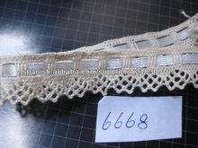 Cordón del algodón de la alta calidad con la cinta / encaje de algodón con la cinta