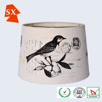 Chinese style country light cover bird fabric drum chandelier lamp shade