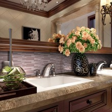 VG48 China Foshan Big Size Mosaic Glass Linear Bathroom Tile Designs