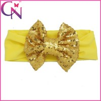 2015 Trendy BlingBling 5'' Big Sequin Ribbon Bow Centered Bow Headband