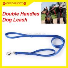 Wholesale Nylon Webbing Double Loop Handle Dog Leash