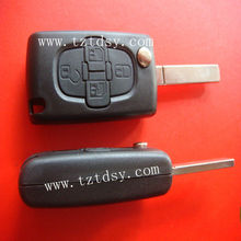 Tongda Hot sale 4 button modified folding remote key case(no groove) for peugeot