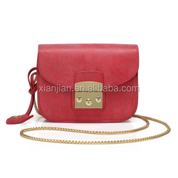 Pollish Suede Leather Small Chain Clutch Shoulder Bag With Dual Lock (XJHB807-1)