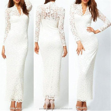 women long sleeve sexy v neck bodycon lace evening maxi dress