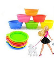 Pet Supply Pet Dog Cat Fashion Silicone Collapsible Feeding Water Feeder ,Travel Bowl ,Dish Free shipping