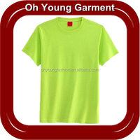 100 Polyester Wholesale Cheap Short Sleeve 140gsm Plain Blank Neon Green T Shirts For Custom Design