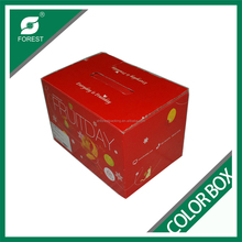 GLOSSY LAMINATED B FLUTE CORRUGATED COLOR CARTON BOX CARDBOARD FRESH FRUITS PACKAGING BOXES WHOLESALE