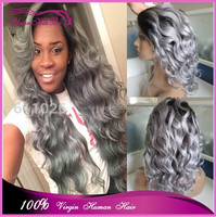 New Arrival dark root grey deep wave human hair wigs two tone brazilian hair ombre color full lace wig