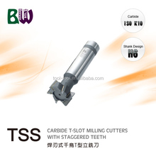 Brazed Carbide Staggered Teeth T Slot Milling Cutters For Milling Machine