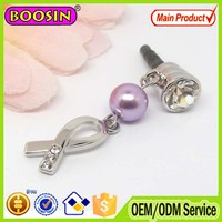 2015 Wholesale promotional alloy breast cancer phone anti dust plug #S1