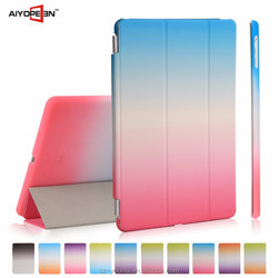 Factory Price Smart Gradient Color Cover Tripled Folded Case for iPad 5 for iPad Air
