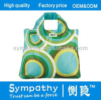 210D ripstop Pu coating 210T Polyester green tote shopping bag can be foldable